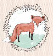 cute little fox illustration for children. - stock illustration