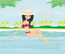 Young woman sunbathing by the pool Stock Illustration