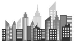Modern Metropolis City Skyscrapers Skyline Stock Illustration