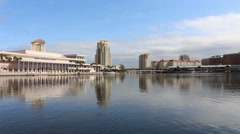 Downtown Tampa waterfront- tilt shot Stock Footage