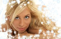 Lovely blond with snowflakes Stock Illustration
