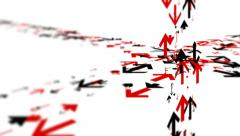 Various arrows moving in different directions. Shallow focus. - stock footage