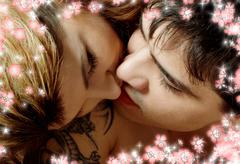 kissing in bed with flowers - stock illustration