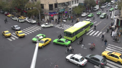 Busy intersection in downtown Tehran, time lapse video Stock Footage