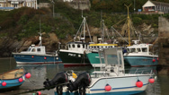 Stock Video Footage of cornish coast fishing boats 01