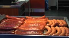 Sausages, frankfurters, salami, meat fat Stock Footage