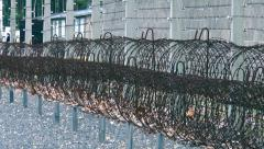 Barbed wire in concentration camp - stock footage