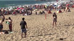 1006  Games at Reñaca Beach, Viña del Mar, Chile Stock Footage