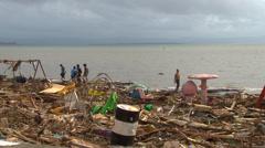Typhoon haiyan yolanda storm surge damage Stock Footage