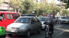 Tehran Iran slow driving traffic congestion jam transportation city Stock Footage