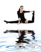 fitness instructor in black leotard on white sand #2 - stock illustration