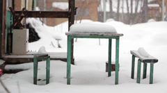 Snow table Stock Footage