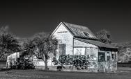 Stock Photo of black and white abandoned american farmhouse