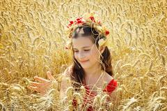 Beautiful girl sitting in the wheat Stock Photos