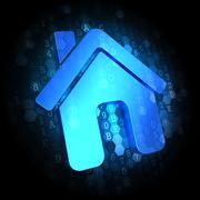 Home Icon on Digital Background. - stock illustration