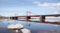 Ice, water and bridge Stock Footage