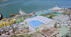 Harbor of Tacloban after the typhoon Haiyan Stock Footage