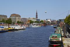 Hamburg (germany) - toll canal with church of st. catherine Stock Photos