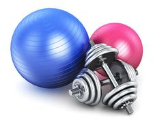 Fitness and sports equipment Stock Photos