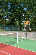 outdoor tennis court - stock photo