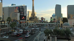Road car traffic in Las Vegas, Ballys Paris Hotels, Strip street time-lapse 4K Stock Footage