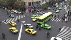 Intersection in Southern Tehran, Iran Stock Footage