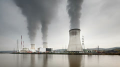 Nuclear Power Station Time Lapse, Zooming In Stock Footage