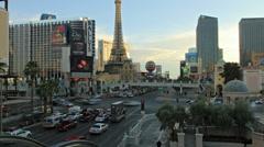 Road car traffic in Las Vegas, Ballys Paris Hotels, Strip street time-lapse - stock footage