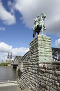 cologne - equestrian statue of wilhelm i. - stock photo