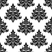 seamless damask style floral wallpaper - stock illustration