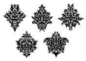 Stock Illustration of set of five different foliate arabesques