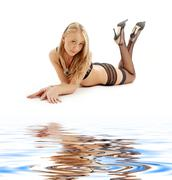 Laying blond in black lingerie Stock Illustration