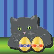 Cat and two easter eggs Stock Illustration