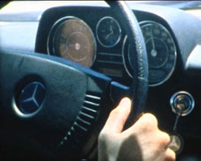 SUPER8 MOROCCO driving a 1970's Mercedes on the highway 2 Stock Footage