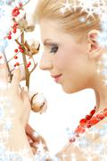 Red ashberry girl Stock Illustration