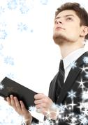 Man with holy bible Stock Illustration