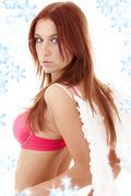 Redhead angel girl in pink lingerie Stock Illustration