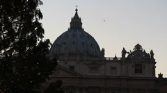 St Peters dome & christmas tree in early evening Stock Footage