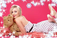 Lovely blond with teddy bear over pink Stock Illustration