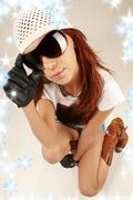 Stock Illustration of cool girl in big sunglasses