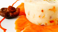 Smoked salmon slices on plate Stock Footage