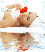 spa relaxation on white sand - stock illustration