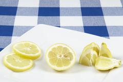 Lemon pieces and slices Stock Photos