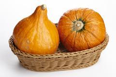 Basket of hokkaido pumpkins Stock Photos