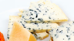 aged french cheese parmesan roquefort and gruyere - stock footage