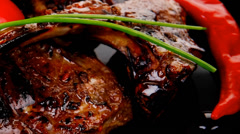 Roast ribs on plate Stock Footage