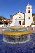 Mexican tile fountain garden mission san buenaventura ventura california Stock Photos