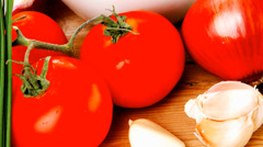 Healthy appetizer : fresh tomato salad Stock Footage