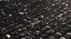 Muslim men attend Friday prayer session in Ankara mosque, Turkey Stock Footage