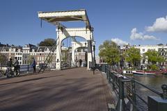 amsterdam, netherlands - old drawbridge - stock photo
